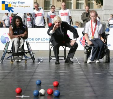 Boccia on The Vinyl Floor Tiles Co Outdoor Exhibition Flooring