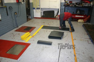 Commercial Vinyl Floor Tiles in Motorcycle Workshop